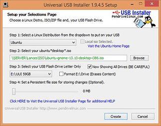 Universal USB Installer - okno ustawień