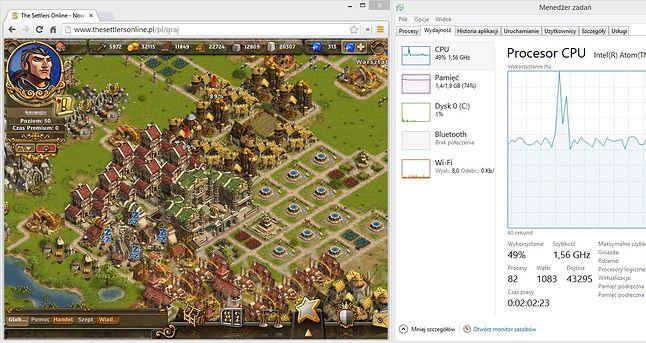 settlersonline gra we flashu wykorzystuje ok 50 % mocy procesora ale tablet wciąż jest responsywny i można na nim robić w tle jeszcze wiele innych rzeczy