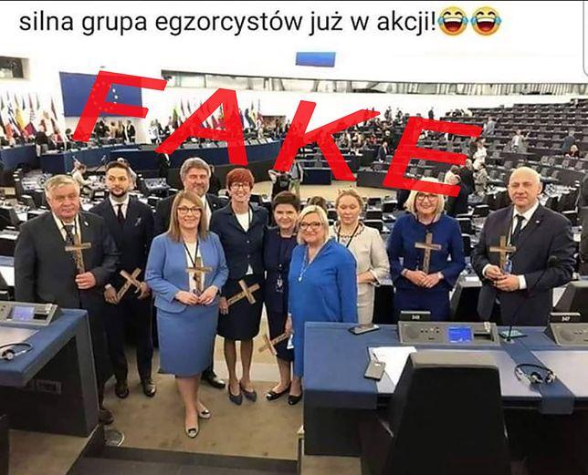 """Fotomontaż przedstawiający """"egzorcystów"""" z PiS"""