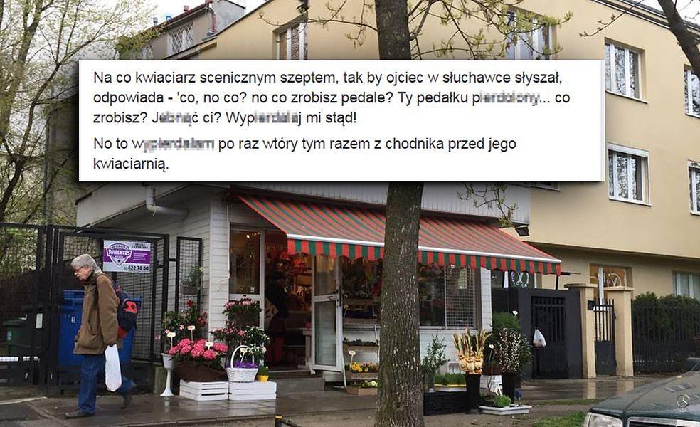 """Właściciel kwiaciarni na Saskiej Kępie do dziennikarza: """"Wyp...j, pedale jeb...y"""""""
