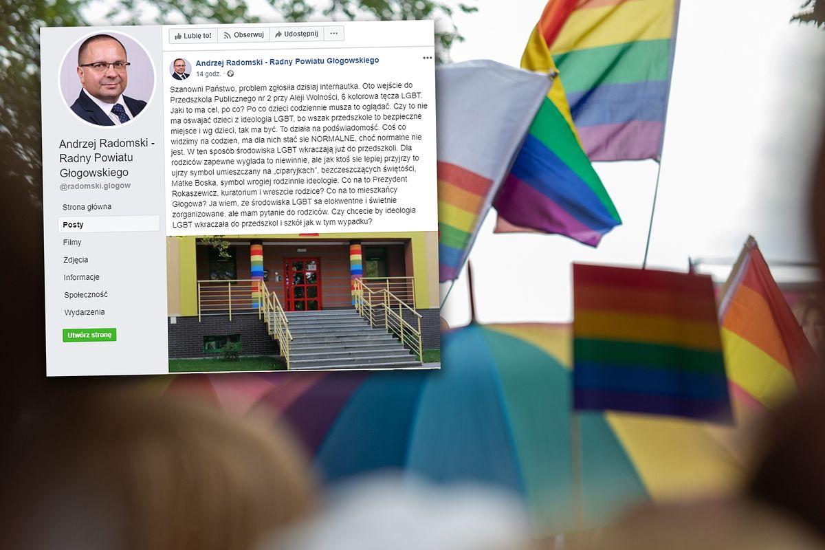 Tęczowe wejście do przedszkola. Radny Andrzej Radomski oburzony, pisze o LGBT