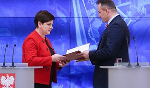 Premier Beata Szydło i nadinspektor Tomasz Miłkowski