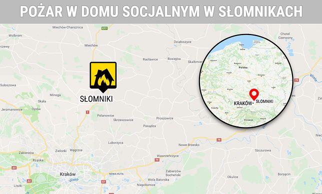 Pożar w domu socjalnym w Słomnikach