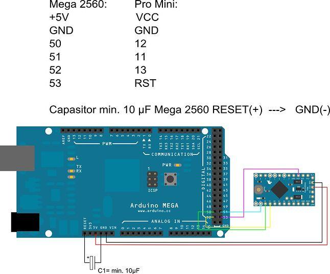 Schemat podłączenia Arduino Mega jako programatora