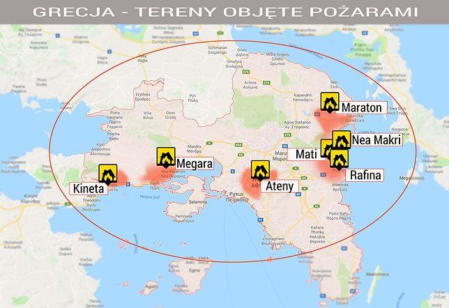 Miasta dotknięte pożarem w Grecji