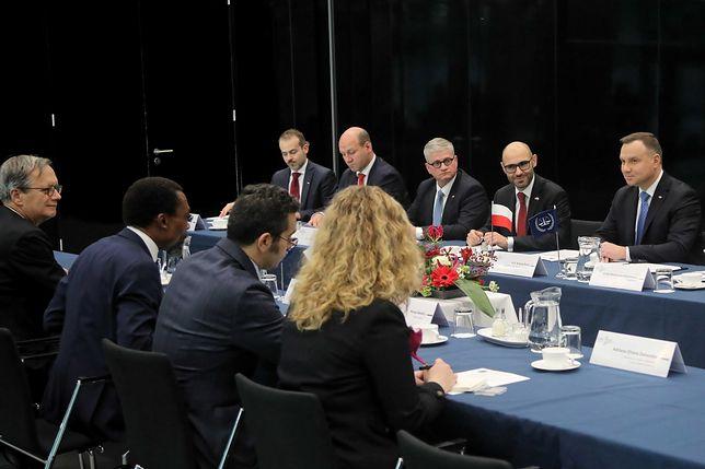 Prezydent Andrzej Duda podczas spotkania z prezesem Międzynarodowego Trybunału Karnego Chile Eboe-Osuji