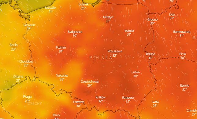 Pogoda. Mapka obrazująca wejście chłodniejszego frontu atmosferycznego od zachodu