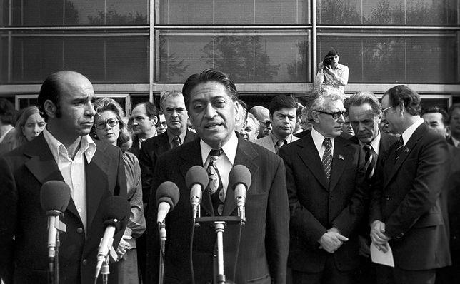 Romesh Chandra, sekretarz generalny Światowej Rady Pokoju, przemawia na otwarciu Wystawy Osiągnięć Narodowej Gospodarki w Moskwie w 1977 r.
