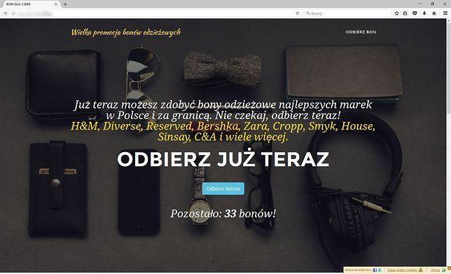 Strona wyświetlana po kliknięciu w link umieszczony w komentarzu przez fałszywy profil Anny Lewandowskiej