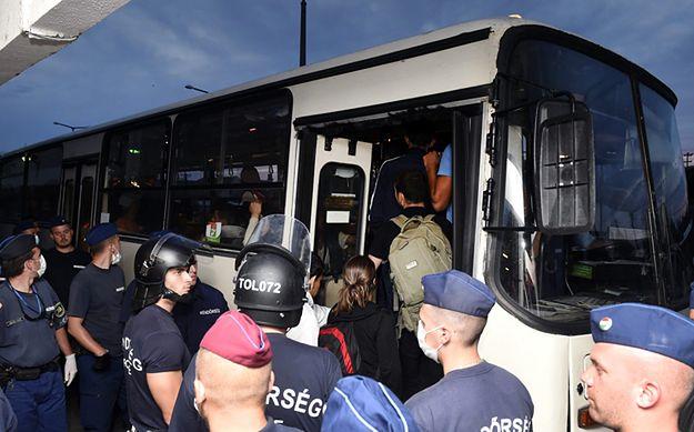 Imigranci podczas transportu do obozu dla uchodźców