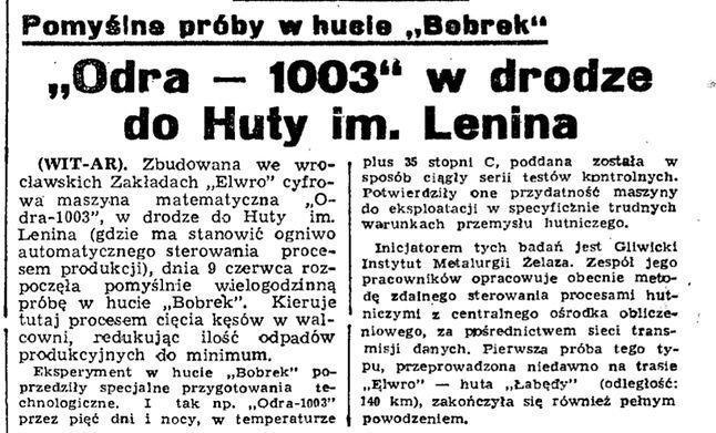 Fragment z Dziennika Polskiego  (środa 10 kwietnia 1964 r.)