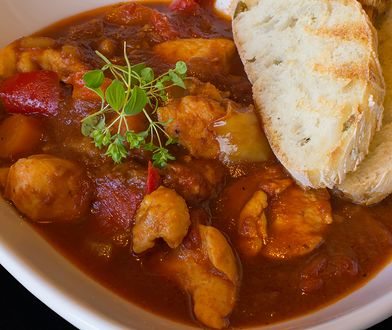 Goulash Soup Homemade. Stew With Fresh Toasted Bread. Goulash Traditional Hungarian Meal.