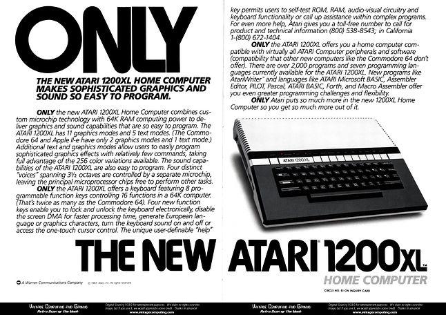 Jedna z prasowych zapowiedzi Atari 1200XL.