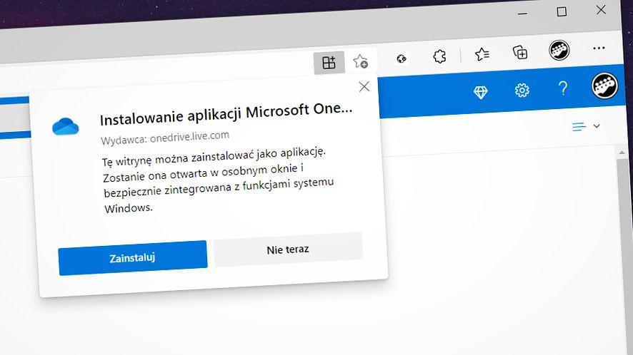 Microsoft OneDrive jako PWA