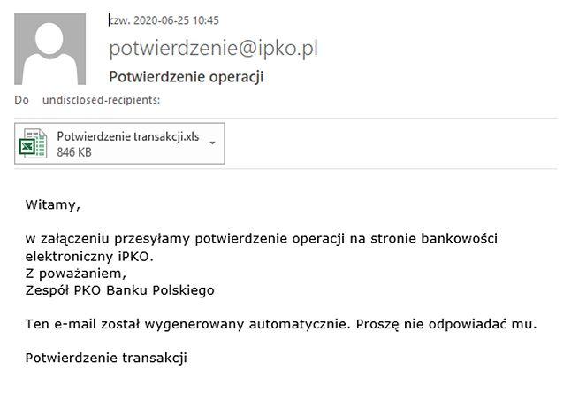 Mail od oszustów. (PKO BP)