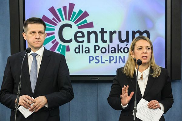 Szef klubu PSL Jan Bury i Elżbieta Jakubiak (PJN)