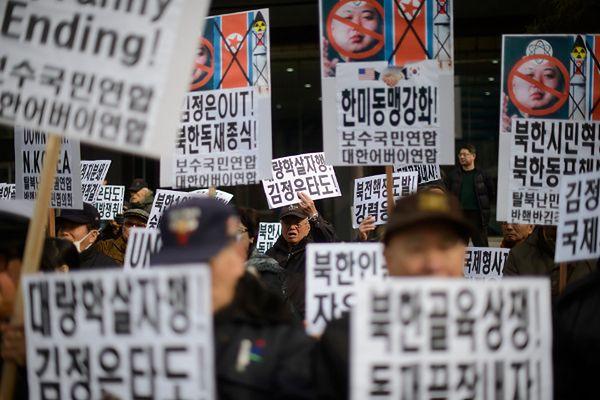 Protest przeciw reżimowi w Korei Północnej prowadzony w Seulu