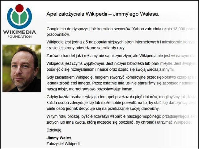Wikipedia kończy z apelami o datki