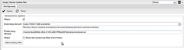 Konfiguracja pluginu plexmediaserver