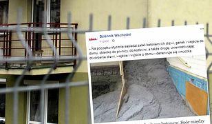 Zalali betonem wejście do domu sąsiadów