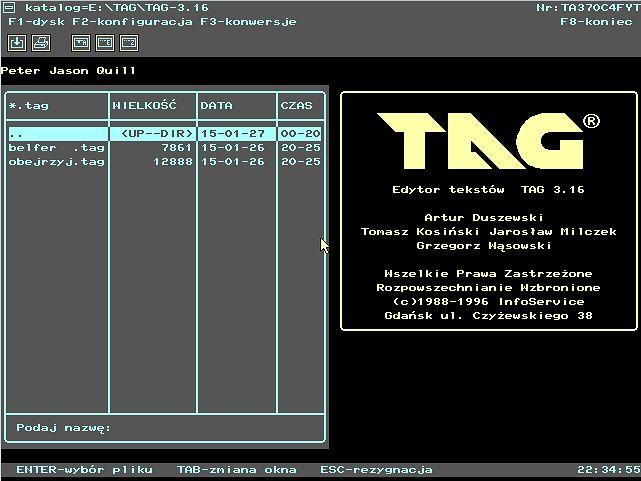Główny ekran TAGa