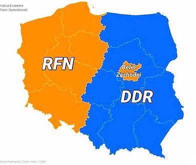 """Grafiki z podziałem Polski na """"RFN"""" i """"DDR"""" są popularne w mediach społecznościowych"""