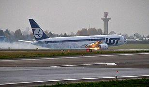 Boeing 767 podczas awaryjnego lądowania na Okęciu 1 listopada