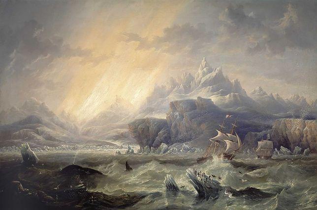 Erebus i Terror w Antarktyce, obraz Johna Wilsona Carmichaela z 1847 r.