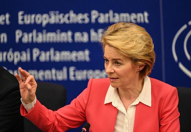 Szefowa Komisji Europejskiej Ursula von der Leyen podczas konferencji prasowej w Strasburgu, 27 listopada 2019 r.