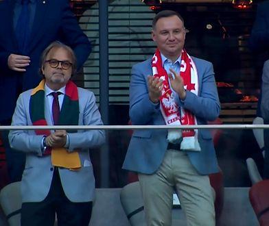 Prezydent Duda na meczu Polska - Litwa