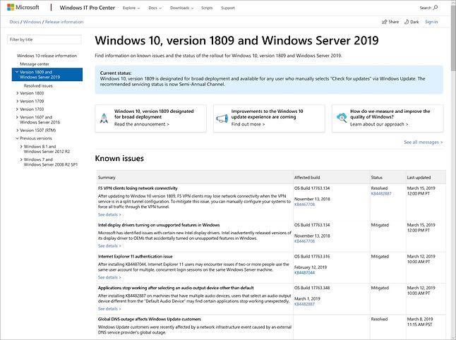 Microsoft chce dalej rozwijać serwis z informacjami o problemach danego wydania Windows 10, źródło: Blog Windows.