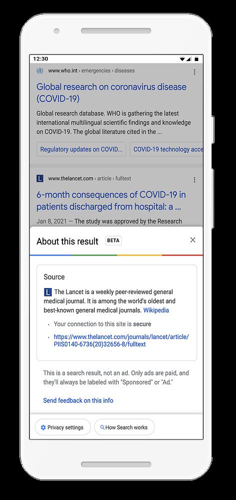 Podgląd informacji o źródle jest na razie dostępny tylko jako beta i tylko dla użytkowników zza granicy, fot. Google.