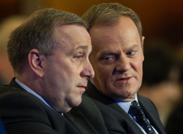 Grzegorz Schetyna i Donald Tusk - obecny i były lider PO.