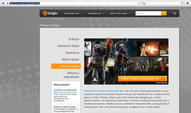 Pobrać klienta Origin da się rzecz jasna nie tylko z DP, ale i samej witryny Origin