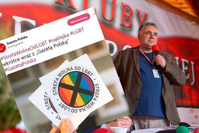 """""""Gazeta Polska"""" i homofobiczne naklejki. Na zdjęciu redaktor naczelny Tomasz Sakiewicz"""