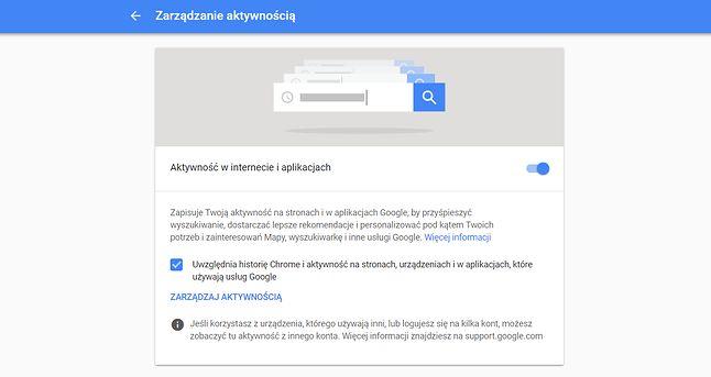 Zarządzanie aktywnością w ustawieniach konta Google.