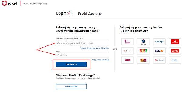 Krok 2: uzupełnij nazwę użytkownika (lub adres e-mail) oraz hasło.