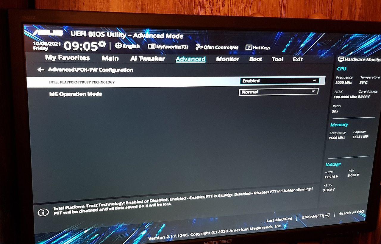 A jeśli w BIOS-ie nie ma TPM? - Intel Platform Trust Technology