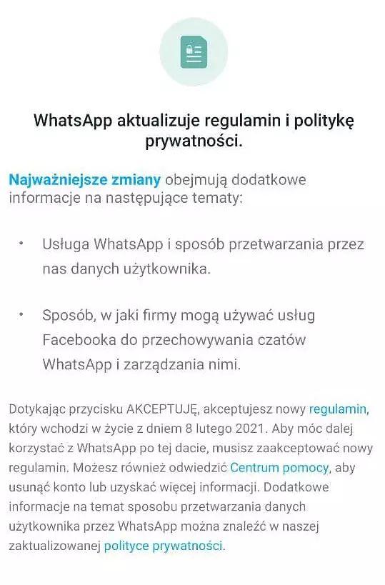 Nowa polityka prywatności WhatsApp