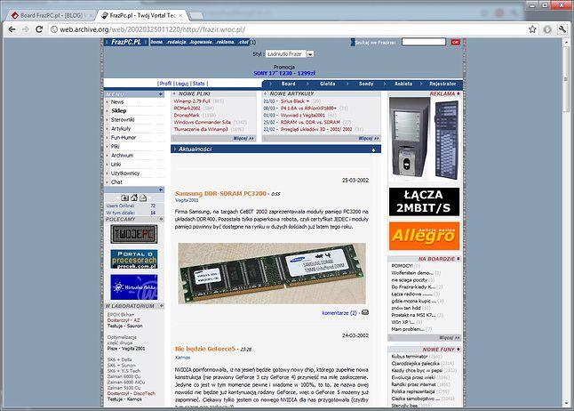Tak wyglądała strona główna FrazPC w lutym 2002 roku.