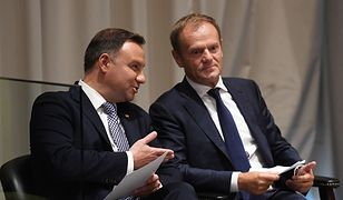 Prezydent Andrzej Duda i szef RE Donald Tusk podczas spotkania w USA