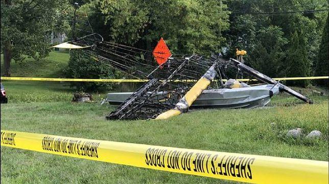 USA. Katastrofa samolotu - maszyna uderzyła w podwórze. Zobacz wideo z miejsca wypadku