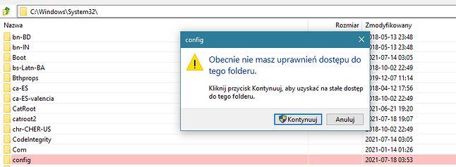 Dostęp do plików Rejestru jest chroniony