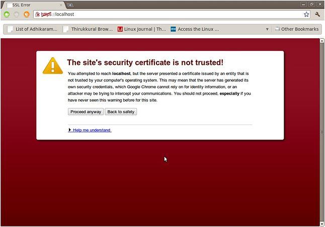 Typowe ostrzeżenie o błędnym certyfikacie