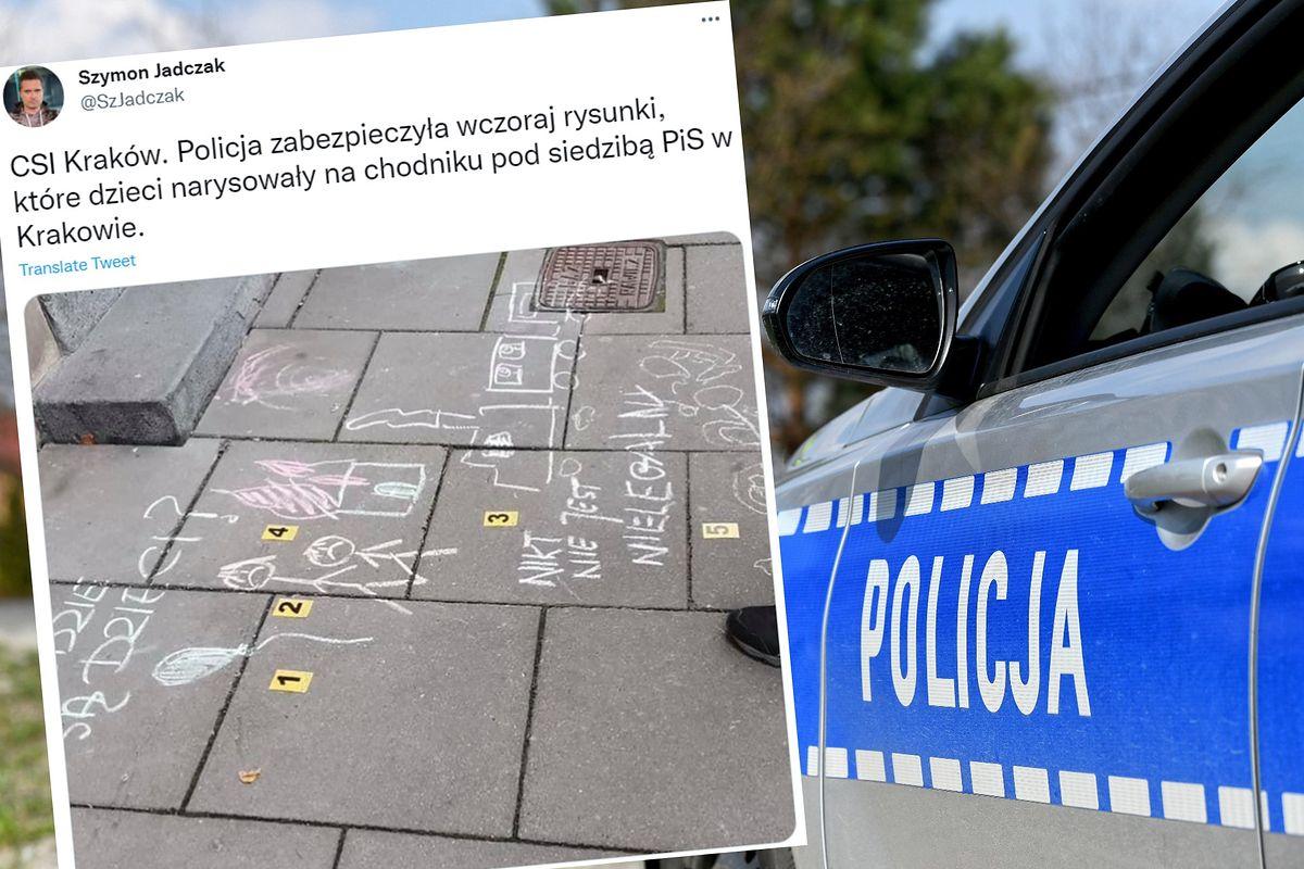 Kraków. Dzieci rysowały na chodniku przed siedzibą PiS. Przyjechała policja, zabrała kredę i spisała rodziców