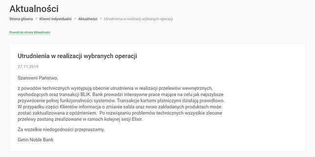 Getin Bank przeprasza za utrudnienia w wyniku awarii