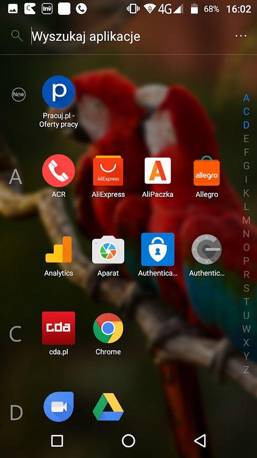Lista aplikacji w Microsoft Launcher