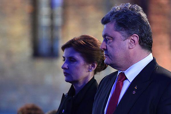 Prezydent Ukrainy Petro Poroszenko z żoną Maryną podczas ceremonii 70. rocznicy wyzwolenia obozu Auschwitz-Birkenau