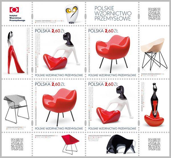 Gratka dla filatelistów i fanów designu. Polskie wzornictwo przemysłowe na znaczkach pocztowych