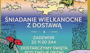 """Warszawa. Plakat promujący akcję """"Śniadanie Wielkanocne z dostawą"""""""